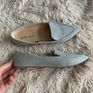 Shoes - Grey Suede Pointed Toe Flats